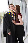Repro Free: 09/11/2012.Ciaran Farrelly from Glasnevin who received a Bachelor of Science in Horticulture is pictured being congratulated by girlfriend Amy Moran from Santry. ITB (Institute of Technology Blanchardstown) were delighted to welcome 653 students back on campus to graduate from their full, part-time and on-line courses an increase of 100 students on 2011's graduation. Courses graduating today include; Computing, Electronic & Computer Engineering, Mechatronic Engineering, Sustainable Electrical & Control Technology, Horticulture, Business, International Business and Applied Social Studies in Social Care. Pic Andres Poveda..For further information please contact : Ann-Marie Sheehan, Aspire PR Tel : 01 827 5181 / 087 298 5569 or email annmarie@aspire-pr.com .