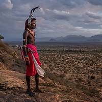 Samburu warrior on sundowner rock