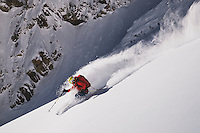 Caroline Gleich skiing the south face of Mt Superior, Wasatch Mountains.