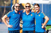 BHUBANESWAR (INDIA) -  Het Nederlands team trainde vanmorgen licht voor de wedstrijd tegen Canada bij het WK Hockey heren.  fysio Jeremy Bertels (Ned) , teamarts Conny van Bentum (Ned) , fysio Mischa Vermeijs (Ned) . COPYRIGHT  KOEN SUYK