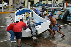 August 9, 2017 - Bay of Campeche, Mexico - People push boats to safety. Franklin becomes a hurricane as it closes in on Mexico. It will make its final landfall in eastern Mexico overnight tonight. (Credit Image: © El Universal via ZUMA Wire)