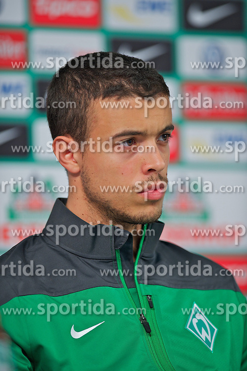 15.08.2013, Weserstadion, Bremen, GER, 1.FBL, Spielervorstellung und Pressekonferenz SV Werder Bremen, im Bild Franco Mat&iacute;as Di Santo / Franco Matias Di Santo (SV Werder Bremen #9) // during the player presentation and press conference of the German Bundesliga Club SV Werder Bremen at the Weserstadion, Bremen, Germany on 2013/08/15. EXPA Pictures &copy; 2013, PhotoCredit EXPA Andreas Gumz <br /> <br /> ***** ATTENTION - OUT OF GER *****