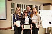Caroline Wilson, Kimberly Kraus, and Emma Kessler pose for a photo with Dr. John Kopchick after recieving their John J. Kopchick Molecular and Cellular Biology Translational Biomedical Sciences Undergraduate Student Support Fund awards in Nelson Commons, on Saturday, November 14, 2015. Photo by Kaitlin Owens