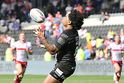 Hull FC half back Albert Kelly (6) catches the ball during the Betfred Super League match between Hull FC and Hull Kingston Rovers at Kingston Communications Stadium, Hull, United Kingdom on 19 April 2019.