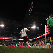 Thierry Henry, New York Red Bulls, takes a corner kick during the New York Red Bulls Vs Toronto FC, Major League Soccer regular season match at Red Bull Arena, Harrison, New Jersey. USA. 11th October 2014. Photo Tim Clayton