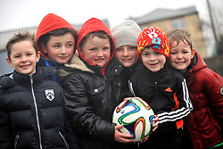 Boys United...<br /> Evan Durcan, Rory Lyons, Thomas McGeogh, Cormac Lyons, Sean Casey and Rian Durcan weathered the elements at the Sportspark to watch the FAI junior Cup Match between Westport United and Freebooters FC Kilkenny.<br /> Pic Conor McKeown