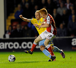 Crystal Palace's Jonathan Williams challenges for the ball with  Walsall's Reece Flanagan - Photo mandatory by-line: Dougie Allward/JMP - Mobile: 07966 386802 26/08/2014 - SPORT - FOOTBALL - Walsall - Bescot Stadium - Walsall v Crystal Palace - Capital One Cup