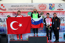 Second placed Sevilay Eytemis of Turkey, Balkan Champion Marusa Mismas of Slovenia and third placed Sebahat Akpinar of Turkey at medal ceremony after she won in the U23 Category of Balkan CC Championships 2015, on November 22, 2015 in Vrbovec, Croatia. Photo by Ales Hostnik / Sportida