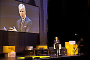 David Gregory, address the the audience during Chicago Ideas Week megatalk on democracy and the state of our union at the Oriental Theatre in Chicago on Monday, Oct. 8, 2012. (Nathan Weber for TIME)