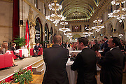 "Vienna, Austria. Cocktail reception hosted by Mayor Michael Häupl at City Hall for international scientists and researchers living and working in Vienna.<br /> Podium discussion ""The Experiences of International Scientists and Researchers Living and Working in Vienna - Challenges and rewards""."