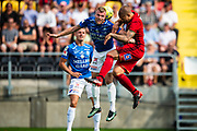 OSTERSUND, SWEDEN - JULY 21: Robin Nilsson of Trelleborgs FF and Douglas Bergqvist of Ostersunds FK  during the Allsvenskan match between Ostersunds FK and Trelleborgs FF on July 21 at Jamtkraft Arena, 2018 in Gothenburg, Sweden. Photo by Johan Axelsson/Ombrello ***BETALBILD***