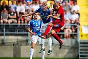 OSTERSUND, SWEDEN - JULY 21: Robin Nilsson of Trelleborgs FF and Douglas Bergqvist of Ostersunds FK  during the Allsvenskan match between Ostersunds FK and Trelleborgs FF on July 21 at Jamtkraft Arena, 2018 in Gothenburg, Sweden. Photo by Johan Axelsson/Ombrello ***BETALBILD***