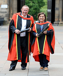 Pictured: Comedian Susan Calman and broadcaster Andrew Neil after getting their honorary degrees from the University of Glasgow.<br /> <br /> © Dave Johnston / EEm
