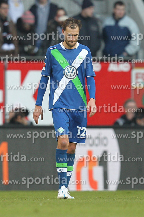 07.03.2015, SGL Arena, Augsburg, GER, 1. FBL, FC Augsburg vs VfL Wolfsburg, 24. Runde, im Bild enttaeuschung bei Bas Dost #12 (VfL Wolfsburg) // during the German Bundesliga 24th round match between FC Augsburg and VfL Wolfsburg at the SGL Arena in Augsburg, Germany on 2015/03/07. EXPA Pictures &copy; 2015, PhotoCredit: EXPA/ Eibner-Pressefoto/ Kolbert<br /> <br /> *****ATTENTION - OUT of GER*****