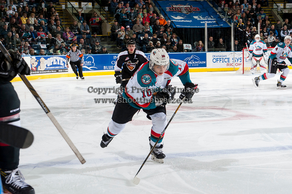 KELOWNA, CANADA - MARCH 10: Nick Merkley #10 of the Kelowna Rockets skates against the Vancouver Giants on March 10, 2017 at Prospera Place in Kelowna, British Columbia, Canada.  (Photo by Marissa Baecker/Shoot the Breeze)  *** Local Caption ***