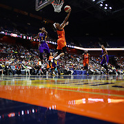 UNCASVILLE, CONNECTICUT- MAY 26:  Jasmine Thomas #5 of the Connecticut Sun scores two points with a reverse layup while defended by Alana Beard #0 of the Los Angeles Sparks during the Los Angeles Sparks Vs Connecticut Sun, WNBA regular season game at Mohegan Sun Arena on May 26, 2016 in Uncasville, Connecticut. (Photo by Tim Clayton/Corbis via Getty Images)