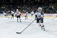KELOWNA, CANADA - MAY 13: Rourke Chartier #14 of Kelowna Rockets warms up against the Brandon Wheat Kings on May 13, 2015 during game 4 of the WHL final series at Prospera Place in Kelowna, British Columbia, Canada.  (Photo by Marissa Baecker/Shoot the Breeze)  *** Local Caption *** Rourke Chartier;