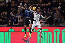 February 3, 2019 - Milan, Milan, Italy - Ivan Perisic #44 of FC Internazionale Milano competes for the ball with Ibrahima Mbaye #15 of Bologna FC during the serie A match between FC Internazionale and Bologna FC at Stadio Giuseppe Meazza on February 3, 2019 in Milan, Italy. (Credit Image: © Giuseppe Cottini/NurPhoto via ZUMA Press)