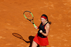 May 18, 2018 - Rome, Italy - Jelena Ostapenko (LAT) celebrates at Foro Italico in Rome, Italy during Tennis WTA Internazionali d'Italia BNL quarter-finals on May 18, 2018. (Credit Image: © Matteo Ciambelli/NurPhoto via ZUMA Press)