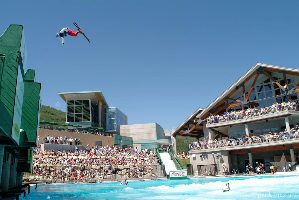 Freestyle Big Air show in splash pool at Utah Olympic Park