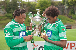 RHOSYMEDRE, WALES - Sunday, May 5, 2019: The New Saints Joash Nembhard (L) and Kane Lewis (R) celebrate with the trophy after the FAW JD Welsh Cup Final between Connah's Quay Nomads and The New Saints at The Rock. The New Saints won 3-0. (Pic by David Rawcliffe/Propaganda)