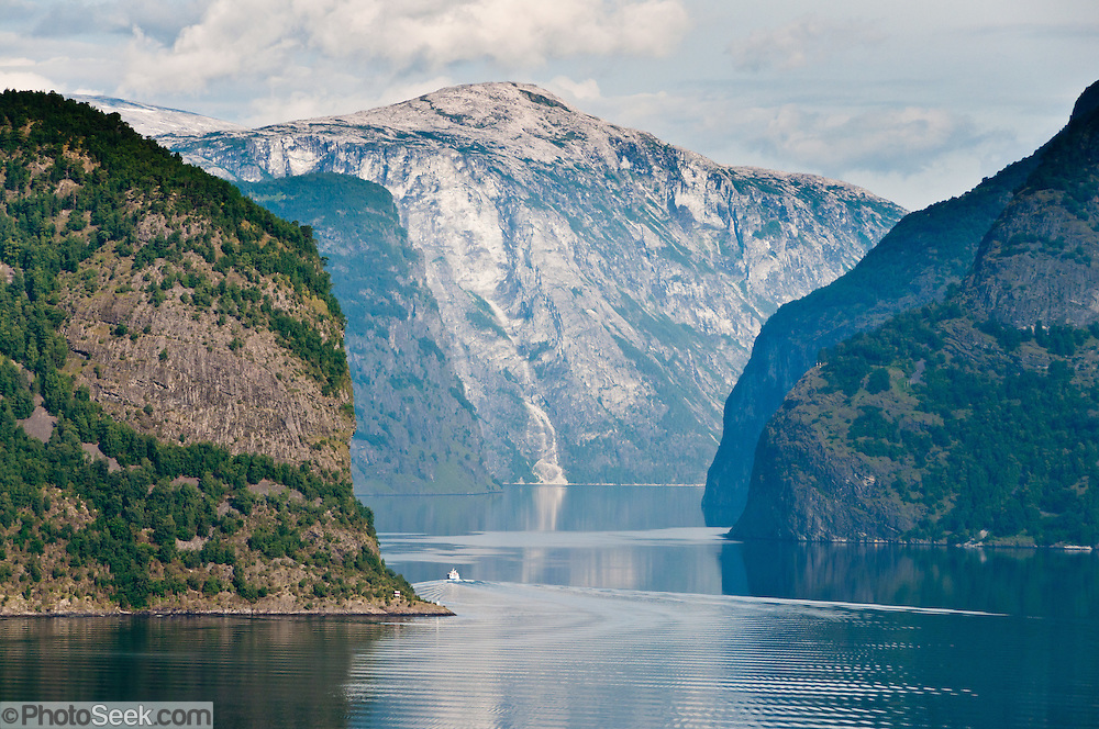 Aurlandsfjord is a branch of Sognefjord, the second longest fjord in the world and the longest in Norway. Location: Aurland, Aurlandsvegen mountain road, Sogn og Fjordane county, Norway.