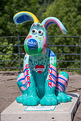 "© Licensed to London News Pictures.  02/07/2018; Bristol, UK. Gromit Unleashed 2. ""The Bristol Hound"" Gromit character installed at Sion Hill by the Clifton Suspension Bridge for the Gromit Unleashed 2 sculpture trail. Gromit Unleashed 2, which officially begins on 02 July, will see the Academy Award®-winning character Gromit by Nick Park at Aardman Animations returning to Bristol in 2018 for the second time on sculpture trails to raise money for  the Grand Appeal charity. The character of Gromit will be joined by Wallace and their arch nemesis Feathers McGraw. The trail will feature over 60 giant sculptures designed by high-profile artists, designers, innovators and local talent. Sculptures will be positioned in high footfall and iconic locations around Bristol and the surrounding area. Photo credit: Simon Chapman/LNP"