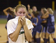 POLK AUBURNDALE, FL.-5/12/00 - Tiffany Clark, left of Sickles High School can't hold back the tears after losing to Miami Palmetto in the Class 6A final.  ( Sickles Gryphons - Girls Softball - State Finals )   (staff/scott iskowitz)