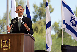 September 30, 2016 - Jeruzalem, ISRAEL - US President Barack Obama delivers a speech at the funeral ceremony of former Israeli president Shimon Peres, Friday 30 September 2016 in Jeruzalem, Israel...BELGA PHOTO NICOLAS MAETERLINCK (Credit Image: © Nicolas Maeterlinck/Belga via ZUMA Press)