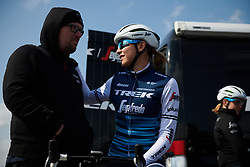 Anna Plichta (POL) chats to Trek Segafredo mechanic, Mike Jenner before the start of Healthy Ageing Tour 2019 - Stage 5, a 124.3 km road race in Midwolda, Netherlands on April 14, 2019. Photo by Sean Robinson/velofocus.com