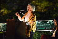 Grace Godshalk (center), who lost a son on 9-11, speaks during a candlelight service to honor the victims of the attacks on the World Trade Center Sunday, September 10, 2017 at the Garden of Reflection 9/11 Memorial in Lower Makefield, Pennsylvania. (Photo by William Thomas Cain)