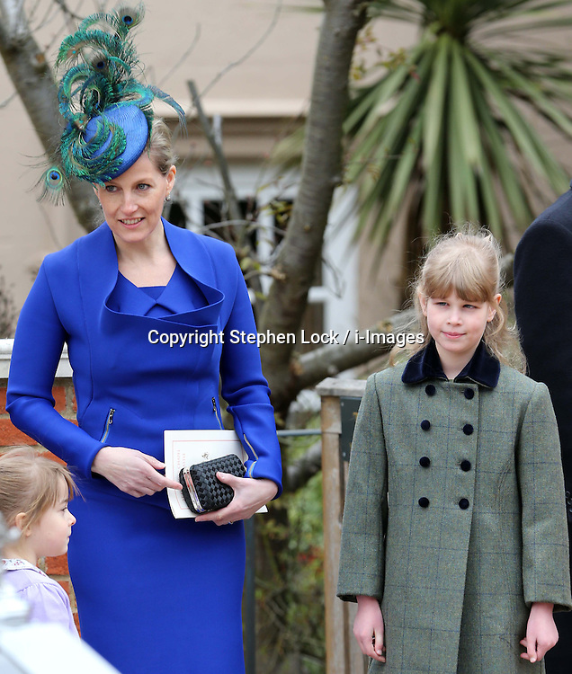 Sophie, Countess of Wessex and her daughter Lady Louise Windsor leave  the Easter Day service at St.George's Chapel, Windsor Castle, Sunday, 31st March 2013.  Photo by: Stephen Lock / i-Images