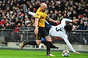 Newport County Defender David Pipe (2) and Tottenham Hotspur Defender Danny Rose (3) clash during the The FA Cup 4th round replay match between Tottenham Hotspur and Newport County at Wembley Stadium, London, England on 7 February 2018. Picture by Stephen Wright.
