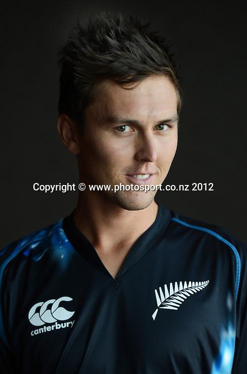 Trent Boult, New Zealand Black Caps photoshoot and portrait / headshots session. International Cricket. Novotel Hotel, Auckland. 12 December 2012. Photo: Andrew Cornaga/photosport.co.nz