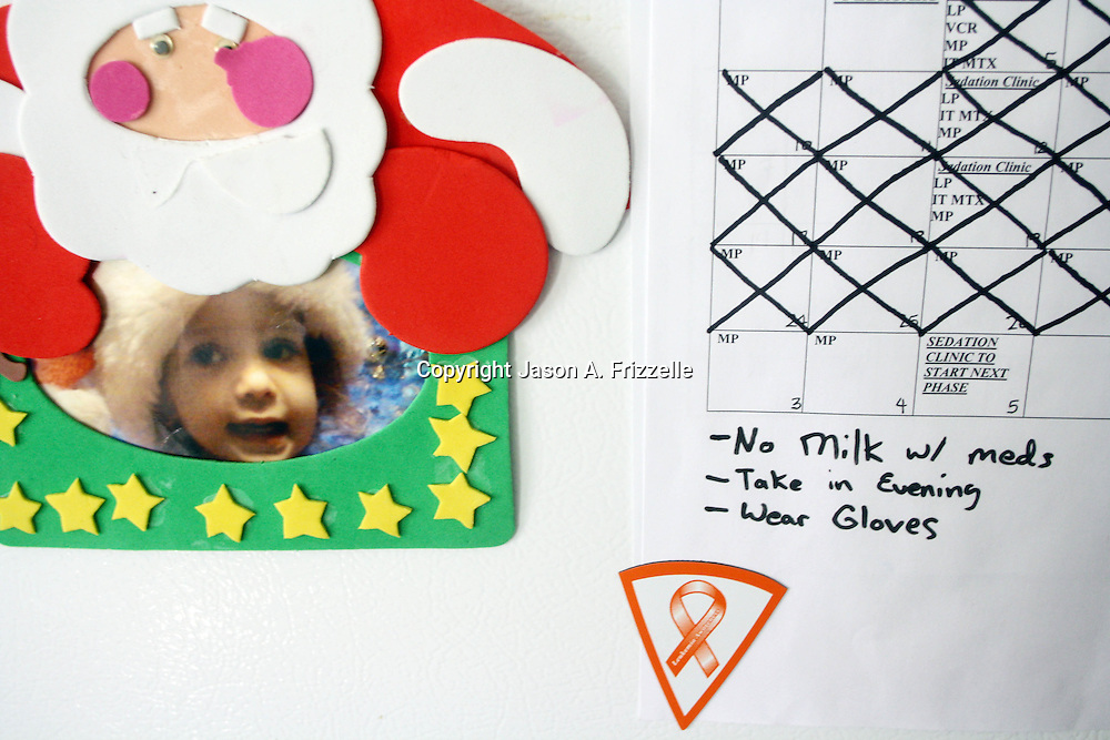 The calender marking off days until the first phase of treatment is complete is pictured on the refrigerator. On December 27, 2012 two year old Holly Larue Frizzelle was diagnosed with Acute Lymphoblastic Leukemia. What began as a stomach ache and visit to her regular pediatrician led to a hospital admission, transport to the University of North Carolina Children's Hospital, and more than two years of treatment.