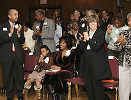 "Kathleen Henderson (seated) receives a standing ovation before a preview of the upcoming PBS program ""African American Lives2"" at the University of Dayton's Kennedy Union Ballroom, Wednesday, January 23, 2008.  Henderson was selected from 2,000 applicants nationwide to be part of the program."