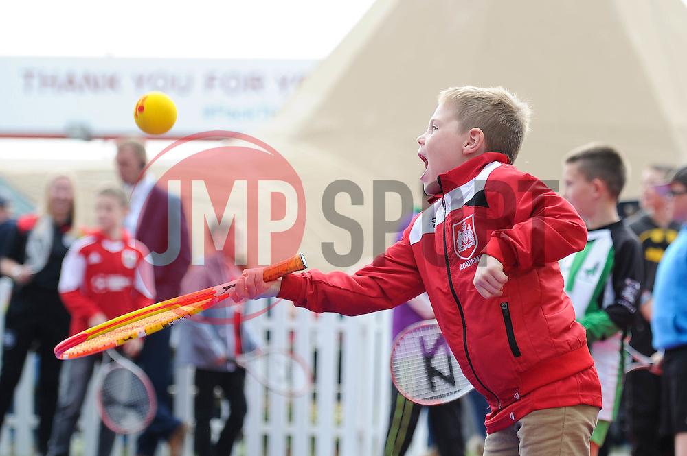 Children take part in a game of tennis run by the Bristol City Community Trust - Mandatory byline: Dougie Allward/JMP - 07966 386802 - 03/10/2015 - FOOTBALL - Ashton Gate - Bristol, England - Bristol City v MK Dons - Sky Bet Championship