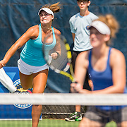 August 20, 2016, New Haven, Connecticut: <br /> Tracy Kuhle and Danielle Wolf in action during a US Open National Playoffs match at the 2016 Connecticut Open at the Yale University Tennis Center on Saturday, August  20, 2016 in New Haven, Connecticut. <br /> (Photo by Billie Weiss/Connecticut Open)