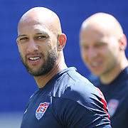 Goalkeepers Tim Howard, (left), and Brad Guzan, training with the US Mens National Team at Red Bull Arena in preparation for Sunday's game against Turkey as they prepare for the 2014 FIFA World Cup. Red Bull Arena, Harrison, New Jersey, USA. 30th May 2014. Photo Tim Clayton