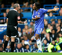 Chelsea v Fulham. Barclays Premier League. 29/09/2007. Didier Drogba of Chelsea protests against referees decision for which he gets yellow card