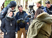 "April 5, 2016, Guilford, CT<br /> Mara Lavitt -- Special to the Hartford Courant<br /> Guilford native Matt Newton of Greenwich on his family's property in Guilford making his horror short-film ""Hide/Seek."" From left: Matt's wife and the film's art department Liana Newton, executive director Douglas Keeve, Newton, actress Michelle Vezilj of NYC, director of photography Kristian Borysevicz of NYC, and associate producer Greg White of Middlebury work on a shot."