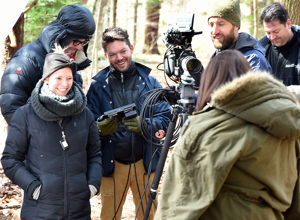April 5, 2016, Guilford, CT<br /> Mara Lavitt -- Special to the Hartford Courant<br /> Guilford native Matt Newton of Greenwich on his family's property in Guilford making his horror short-film &quot;Hide/Seek.&quot; From left: Matt's wife and the film's art department Liana Newton, executive director Douglas Keeve, Newton, actress Michelle Vezilj of NYC, director of photography Kristian Borysevicz of NYC, and associate producer Greg White of Middlebury work on a shot.