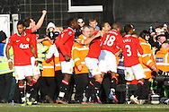 Picture by Paul Chesterton/Focus Images Ltd.  07904 640267.26/02/12.Rio Ferdinand of Man Utd leads the celebrations of Ryan Giggs winning goal during the Barclays Premier League match at Carrow Road Stadium, Norwich.
