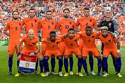03-09-2017 NED: WK Kwalificatie Nederland - Bulgarije, Amsterdam<br /> Het Nederlands elftal heeft de hoop op deelname aan het WK van volgend jaar in Rusland levend gehouden. Na het echec van Parijs greep Oranje tegen Bulgarije in Amsterdam de laatste strohalm: 3-1 / Daley Blind #5, Stefan de Vrij #3, Vincent Janssen #9, Davy Propper #10, Wesley Hoedt #4, Jasper Cilessen #1, Arjen Robben #11, Quincy Promes #7, Kenny Tete #2, Georginio Wijnaldum #6, Tony Vilhena #8