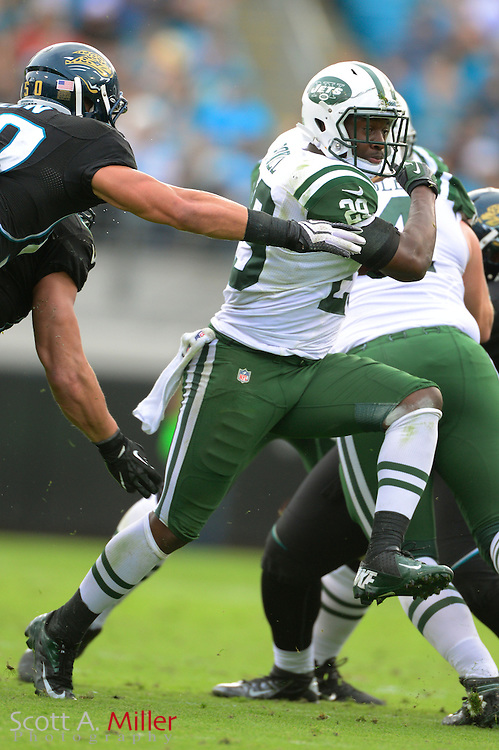 New York Jets running back Bilal Powell (29) during an NFL game against the Jacksonville Jaguars at EverBank Field on Dec 9, 2012 in Jacksonville, Florida. The Jets won 17-10...©2012 Scott A. Miller..