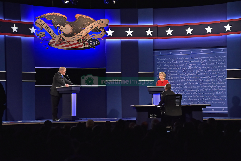 September 26, 2016 - Hempstead, New York, United States of America - Former United States Secretary of State Hillary Clinton, the Democratic Party nominee for President of the US and businessman Donald J. Trump, the Republican Party nominee for President of the US, appear in the first of three presidential general election debates at Hofstra University in Hempstead, New York on Monday, September 26, 2016..Credit: Ron Sachs / CNP. (Credit Image: © Ron Sachs/CNP via ZUMA Wire)