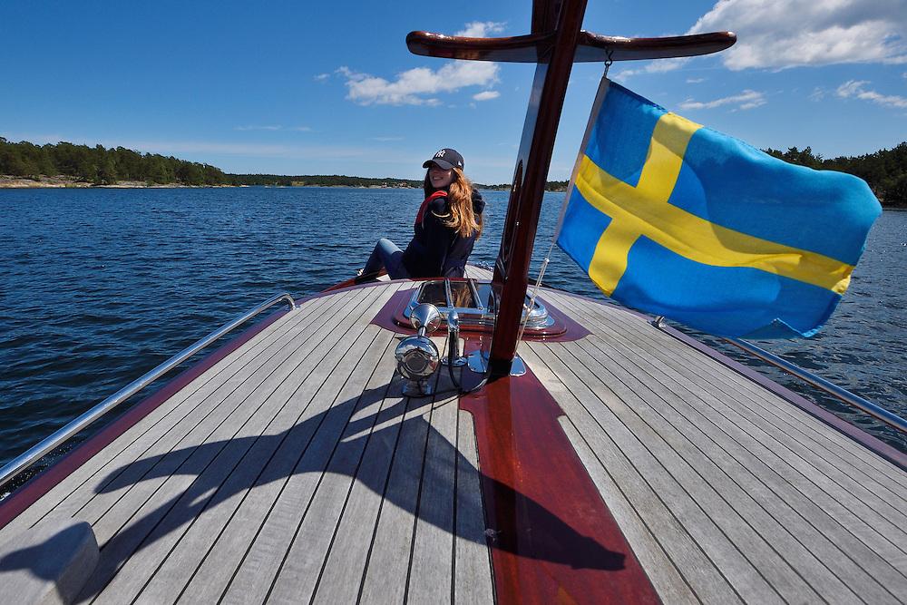 Mimmi Widstrtand on archipelago boat trip in Västerviks skärgård, Småland County, Sweden