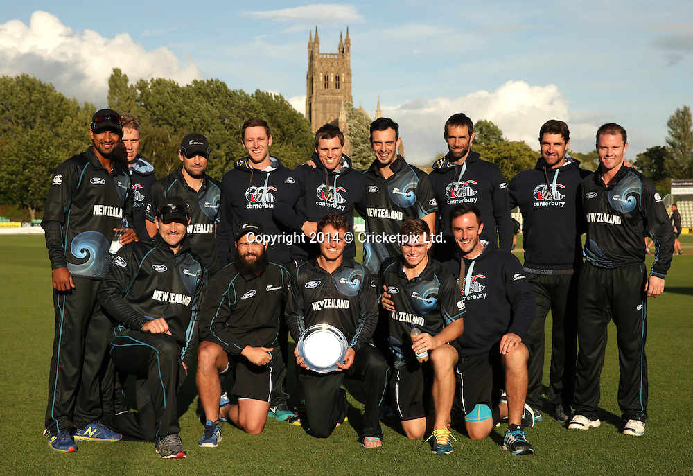 New Zealand A celebrate winning the Royal London One Day Series after beating England Lions at New Road, Worcester. Photo: Graham Morris/www.cricketpix.com (Tel: +44 (0)20 8969 4192; Email: graham@cricketpix.com) 12082014