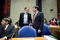 Nederland. Den Haag, 1 maart 2007. <br /> Het vierde kabinet Balkenende legt in de Tweede kamer de regeringsverklaring af. <br /> Wouter Bos, Piet Hein Donner.<br /> Foto Martijn Beekman <br /> NIET VOOR TROUW, AD, TELEGRAAF, NRC EN HET PAROOL