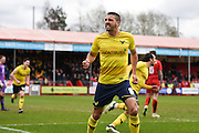 Oxford midfielder Liam Sercombe celebrates his goal to make it 1-3 to Oxford United during the Sky Bet League 2 match between Crawley Town and Oxford United at the Checkatrade.com Stadium, Crawley, England on 9 April 2016. Photo by David Charbit.